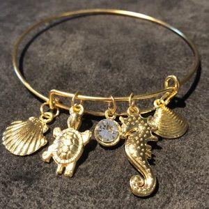 Sea Life Gold Tone Charm Stackable Bracelet